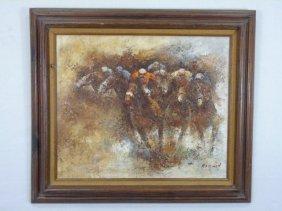 Modernist Oil On Canvas Painting Jockeys & Horses