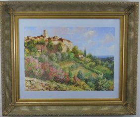 Print After Original Painting Of Hill Town Framed