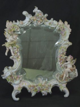 Antique Italian Capodimonte Putti Porcelain Mirror