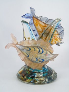 Vintage Murano Art Glass Table Statue Of Fish