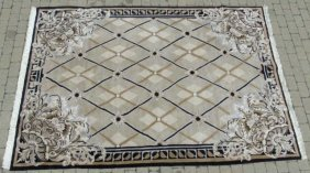 Contemporary Aubusson Style Knotted Wool Carpet