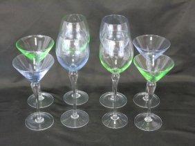 Set Of 4 Wineglasses & 4 Martini Glasses Art Glass