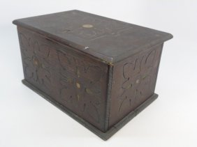 Antique Tudor / Jacobean Style Carved Wood Box