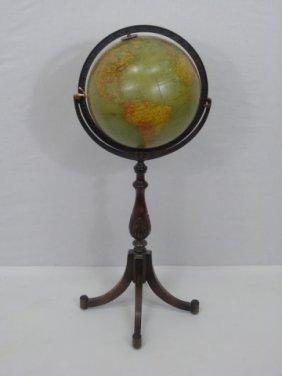 Antique Terrestrial Globe On Stand