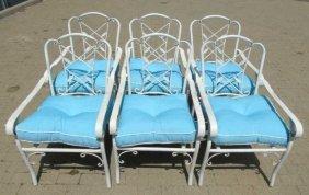 6 White Wrought Iron Garden Chairs W/ Cushions