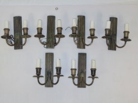 Three Pairs Of Craftsman Style Fluted Sconces
