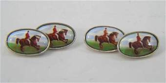 Antique Hand Painted Enamel Sterling Cuff Links