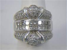 Estate Large 14kt White Gold Diamond Ring