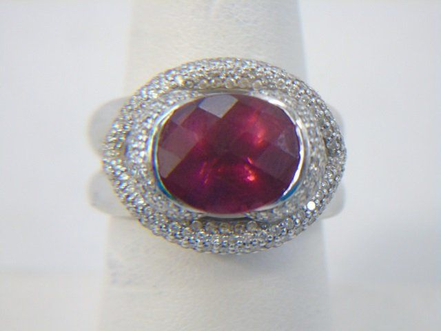 Estate 14kt White Gold Tourmaline Diamond Ring