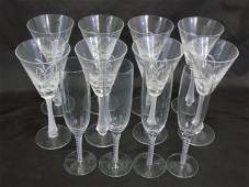 Two Sets of Stemware  Champagne  Martini