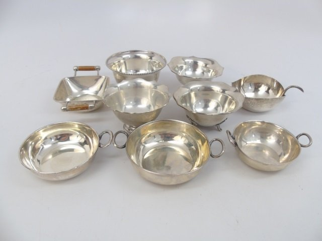 Nine Sterling & 900 Silver Small Bowls & Compotes
