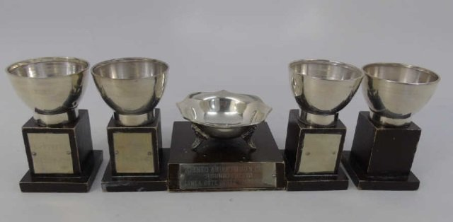 Assorted 900 Silver Vintage Trophies w Wood Stands