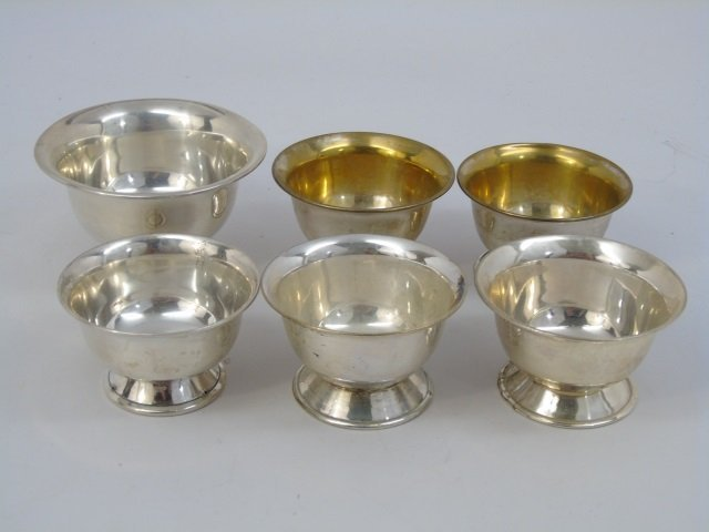 Six 900 Silver Paul Revere Style Bowls