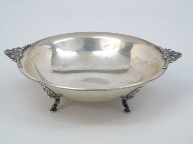 Antique Sterling Silver Footed & Handled Bowl