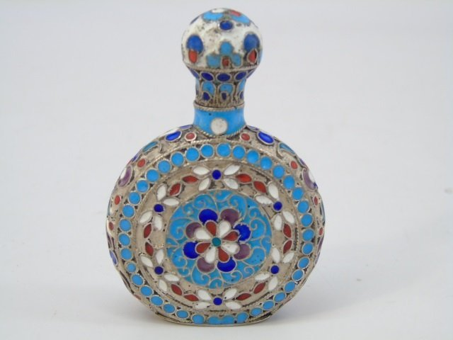 Antique 19th C Imperial Russian Silver Perfume Bottle