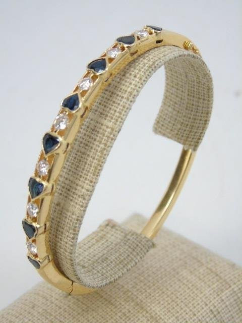 Estate 18k Yellow Gold Diamond & Sapphire Bracelet