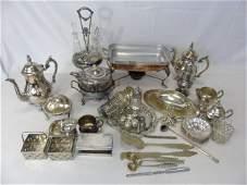 Antique  Vintage Silver Plate Serving Item Group