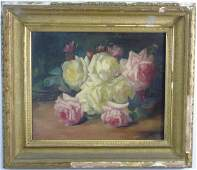 Antique 19th C Victorian Oil Painting of Roses