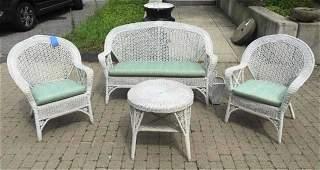 Antique American White Wicker Sunroom / Patio Set