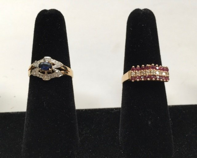 Two Vintage 14kt Yellow Gold Diamond Rings