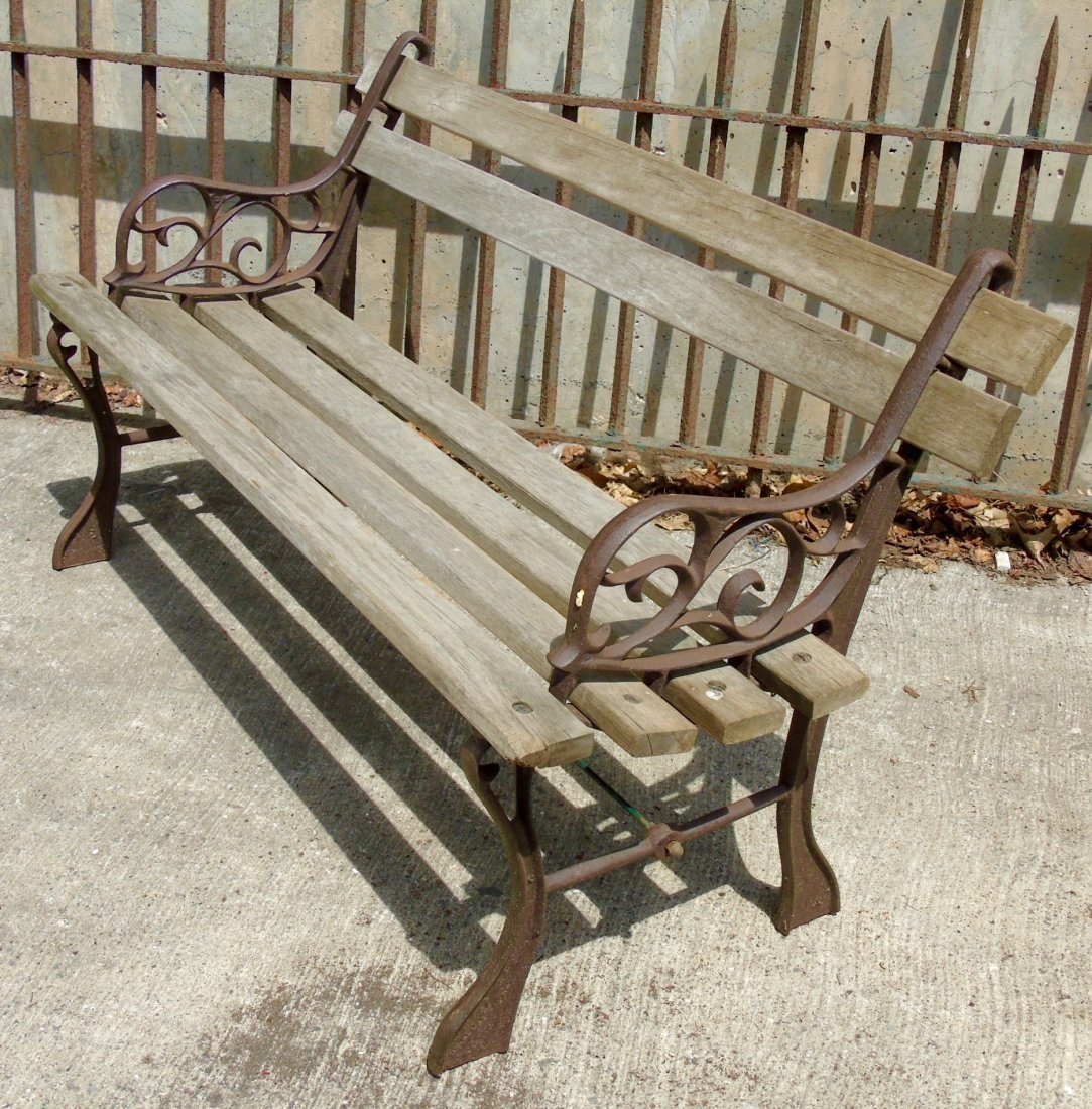 Antique Child Size Cast Iron Wood Garden Bench Aug 07 2016