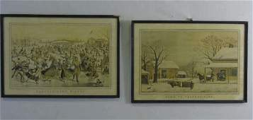 Two Antique Framed American Currier  Ives Prints