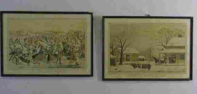 Two Antique Framed American Currier & Ives Prints