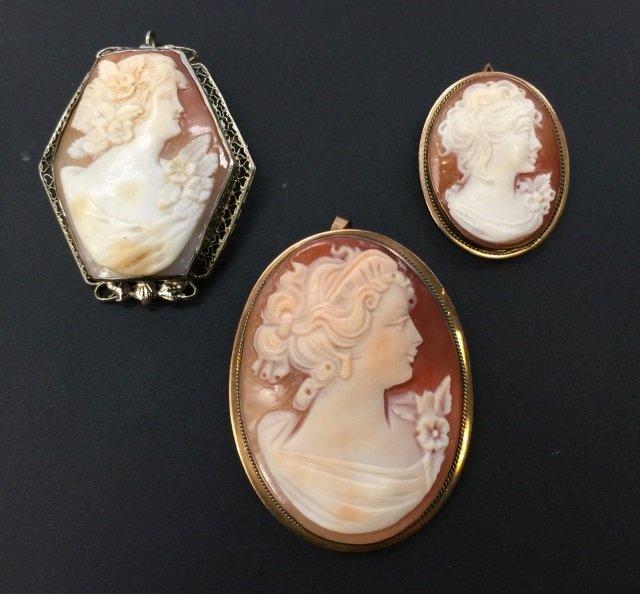 Three Estate Gold & Silver Italian Carved Cameos