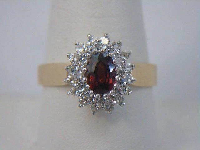 Estate 14kt Yellow Gold Diamond Tourmaline Ring
