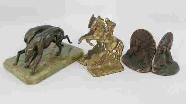 3 Pairs Bronze Bookends Green Onyx Greyhounds