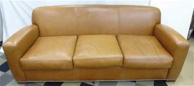 Ralph Lauren Studded Brown Leather Grant Sofa