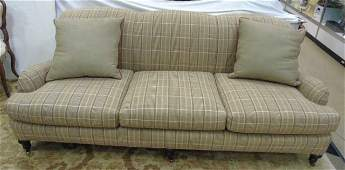 Brown Check Upholstered Ethan Allen Sofa 3 Cushion
