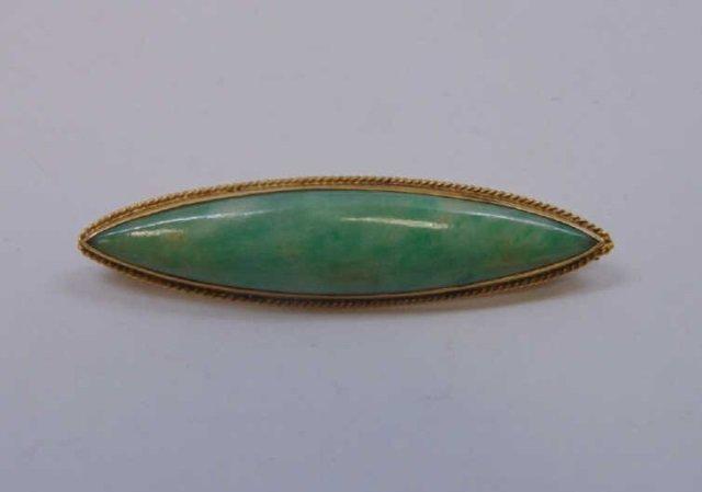 Antique 18kt Chinese Jade Bar Brooch / Pin