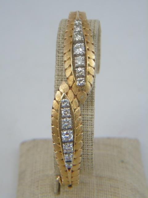 Estate 14kt Gold & 1.75 CT Diamond Bypass Bracelet