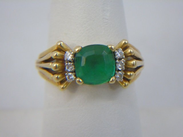 Estate 18kt Gold Apatite & Diamond Cocktail Ring