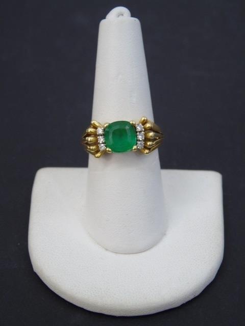 Estate 18kt Gold Apatite & Diamond Cocktail Ring - 2