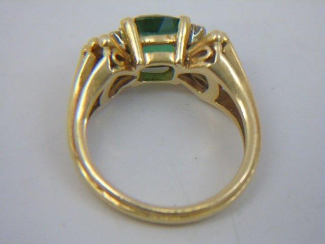 Estate 18kt Gold Apatite & Diamond Cocktail Ring - 4