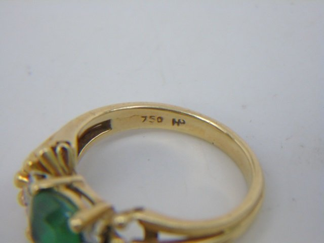 Estate 18kt Gold Apatite & Diamond Cocktail Ring - 5
