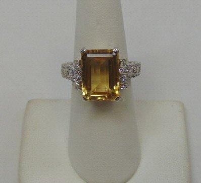 2 Carat Imperial Yellow Topaz & Diamond Ring
