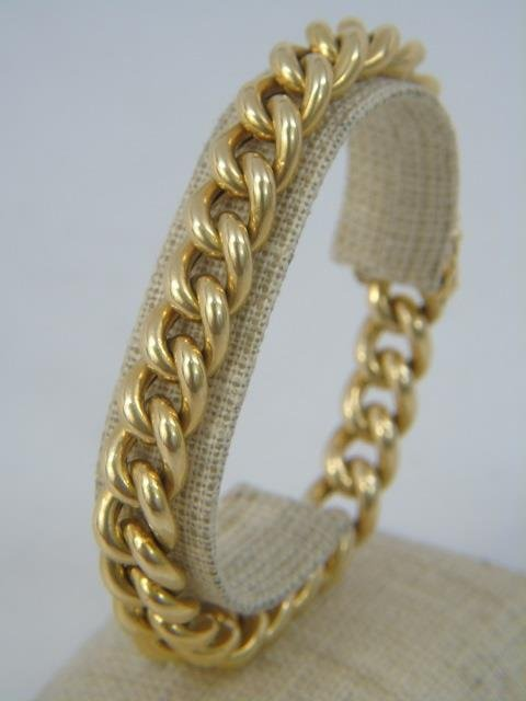 Estate 18kt Yellow Gold Heavy Link Bracelet