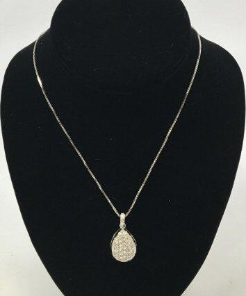 Estate 2+ Carat Diamond & 14kt White Gold Necklace