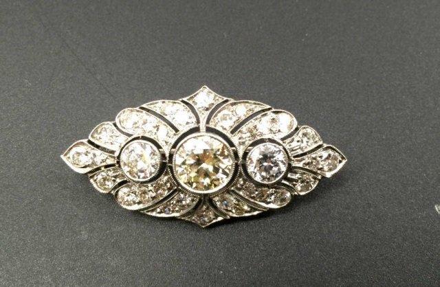 Estate Antique 3 Carat Diamond & Gold Brooch Pin
