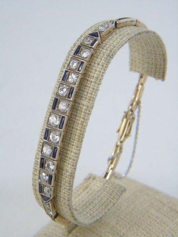 Estate Antique Diamond Sapphire Art Deco Bracelet