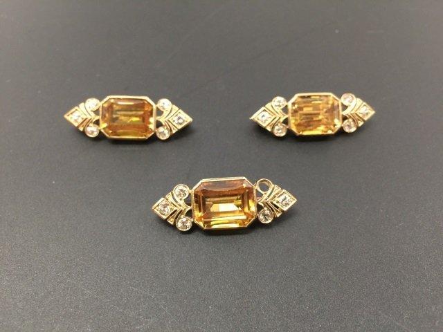 Set of 3 Estate Antique Mali Garnet & Diamond Pins