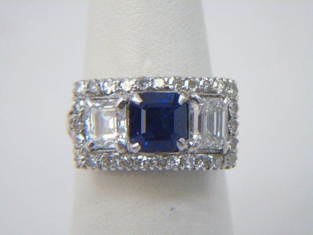 Estate Antique 2 Ct Diamond & 1 Ct Sapphire Ring