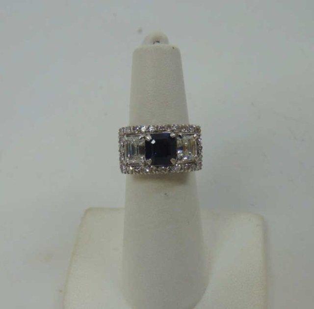 Estate Antique 2 Ct Diamond & 1 Ct Sapphire Ring - 2