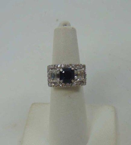 Estate Antique 2 Ct Diamond & 1 Ct Sapphire Ring - 3