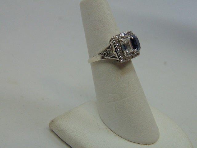 Estate Antique 2 Ct Diamond & 1 Ct Sapphire Ring - 4