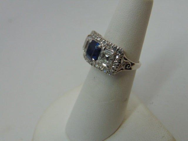 Estate Antique 2 Ct Diamond & 1 Ct Sapphire Ring - 5