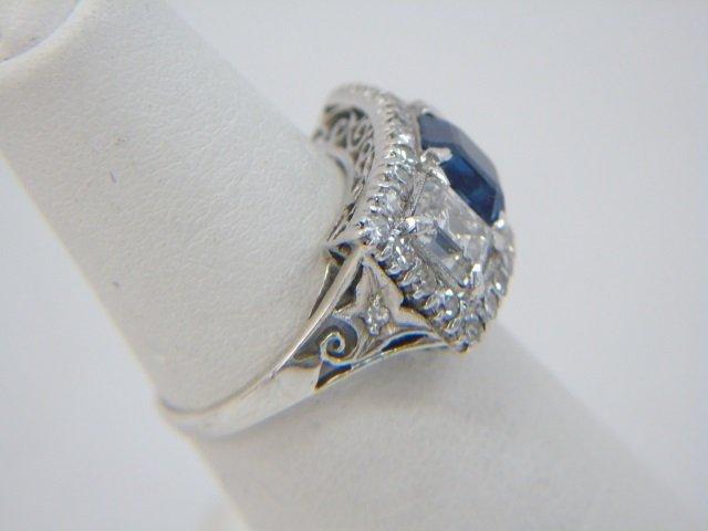 Estate Antique 2 Ct Diamond & 1 Ct Sapphire Ring - 8